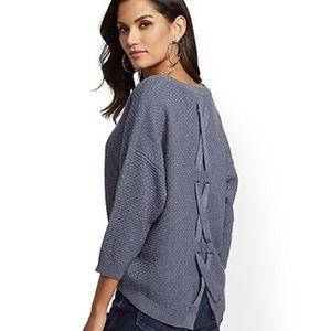 Blue Metallic Lace-Up Back Sweater